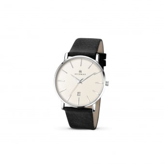 Mens Steel Accurist Watch With Leather Strap and Off White Dial 7123