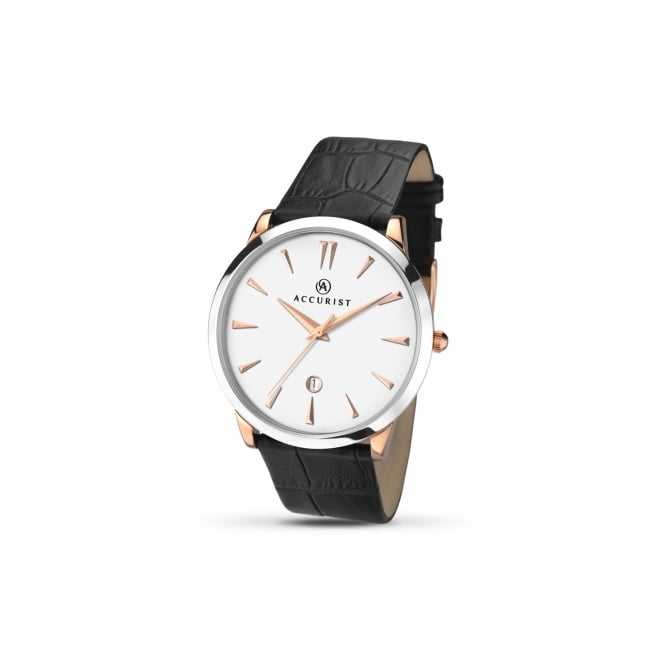 Accurist Mens Steel Watch With Leather Strap and Rose Accents 7028