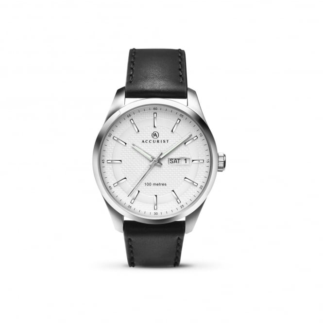 Accurist Mens Steel Watch With Leather Strap and White Textured Dial 7135