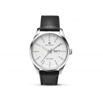 Mens Steel Accurist Watch With Leather Strap and White Textured Dial 7135