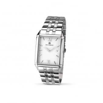 Mens Steel Accurist Watch With Rectangular Face 7031