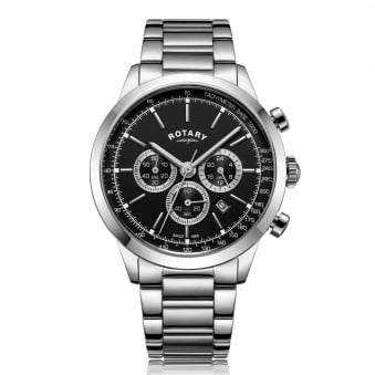 Mens Steel Chronograph Rotary Watch with Black Dial
