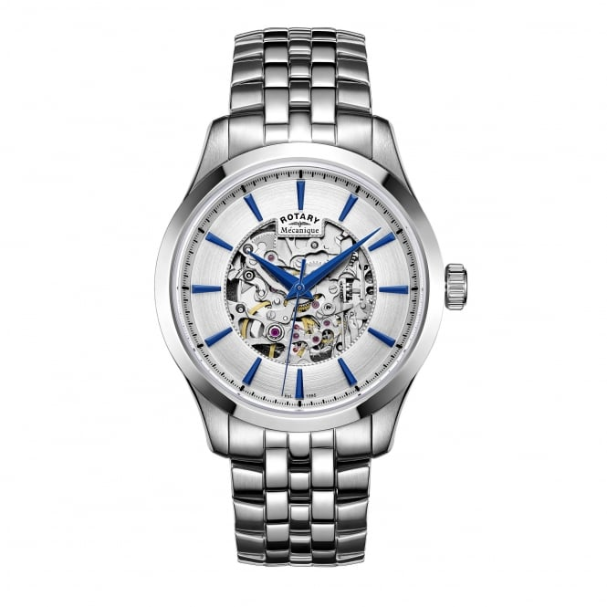 Rotary Mens Steel Automatic Skeleton Watch