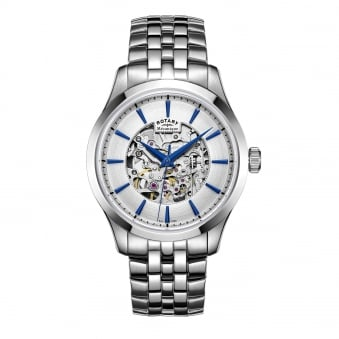 Mens Steel Rotary Automatic Skeleton Watch