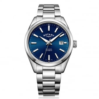Mens Steel Rotary Automatic Watch with Blue Dial