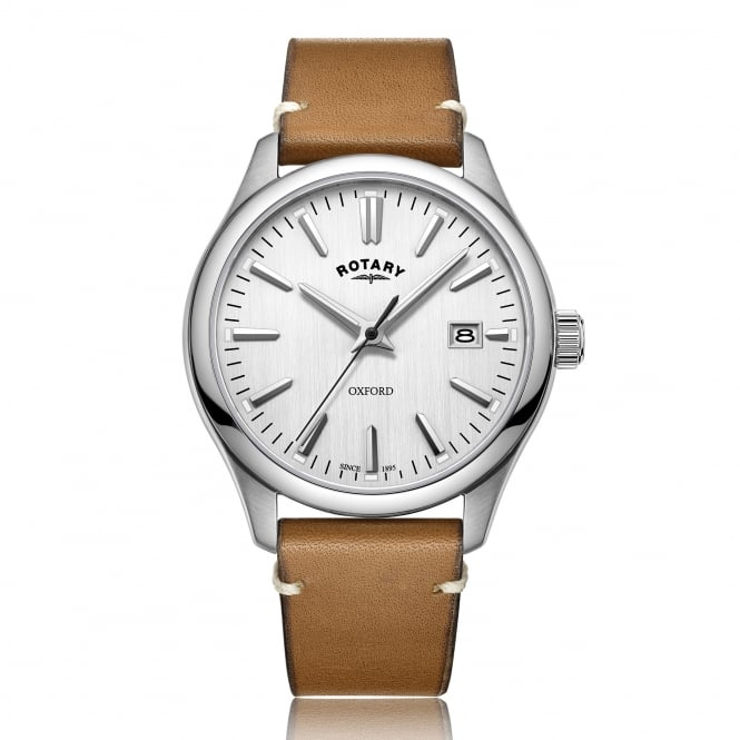 Rotary Mens Steel Watch on a Tan Leather Strap