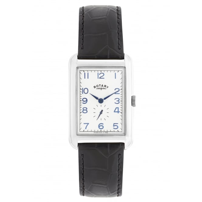 Rotary Mens Steel Watch With rectangular Face on Leather Strap