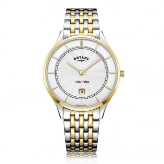 Mens Steel Ultra Slim Two Tone Rotary Watch