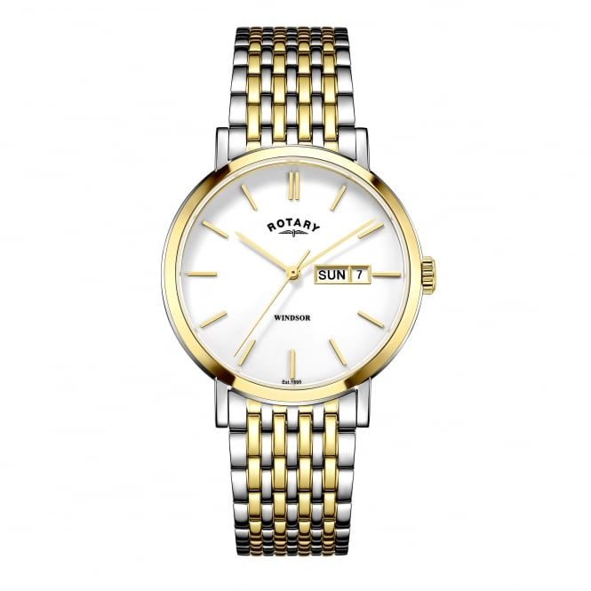 Rotary Mens Two Tone Watch With Day and Date Window