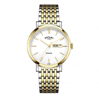 Mens Two Tone Rotary Watch With Day and Date Window