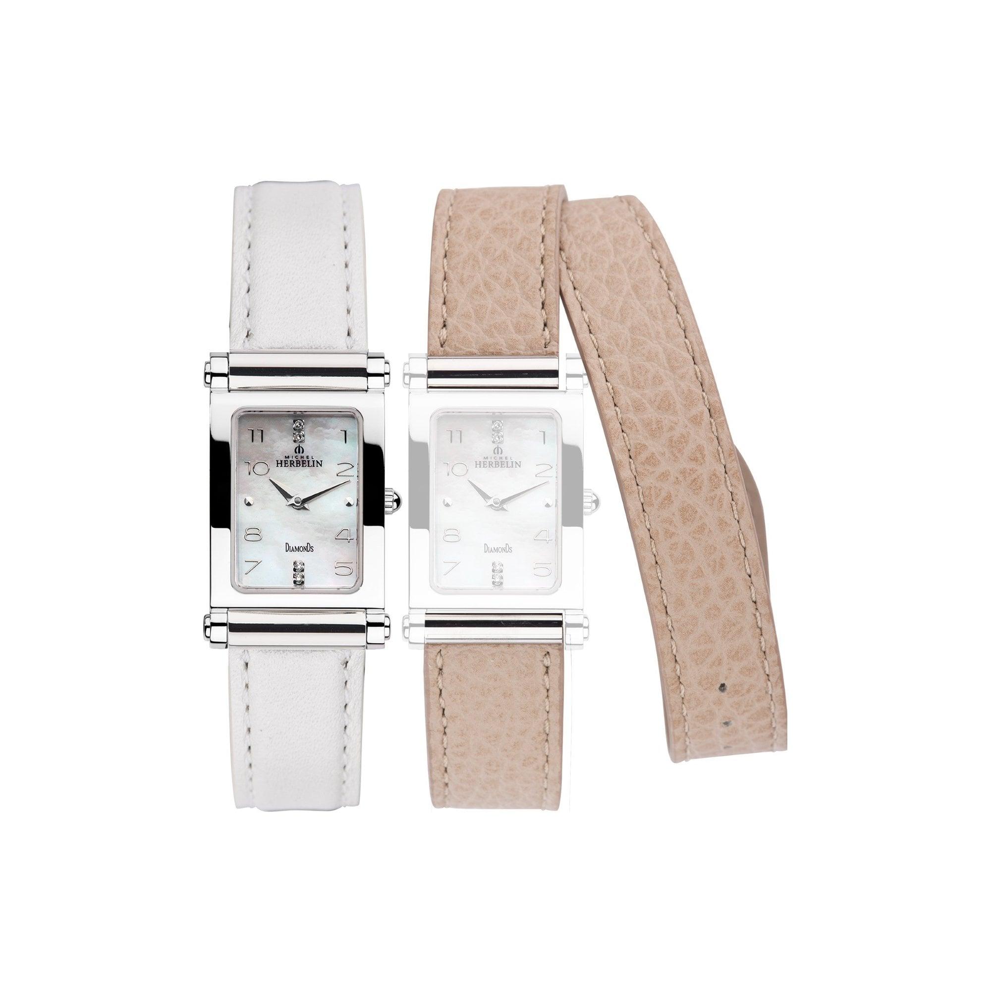 le moins cher prix officiel recherche d'authentique Ladies Steel Michel Herbelin Antares Watch (with White & Cream  Interchangeable straps) 17048/89WSL