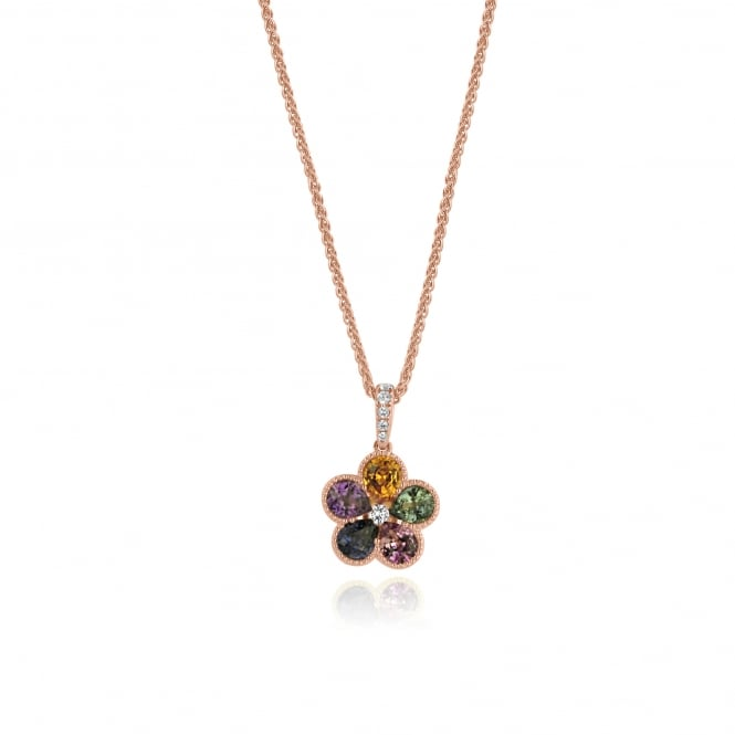 Multicoloured Sapphire Flower Necklace in Rose Gold