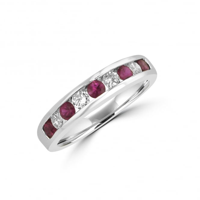 Nine Stone Ruby and Diamond 18ct White Gold Ring