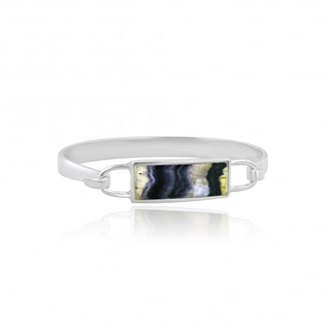 One-Off Silver Bangle Set With Rectangular Derbyshire Blue John