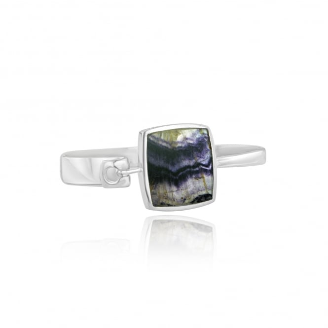 One-Off Silver Bangle Set With Square Derbyshire Blue John