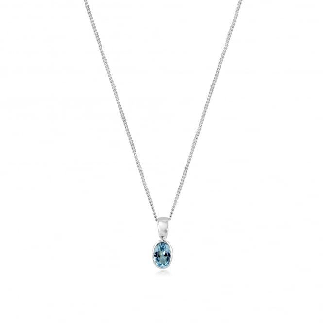 Oval Blue Topaz Necklace in 9ct White Gold PW3675 + CW272