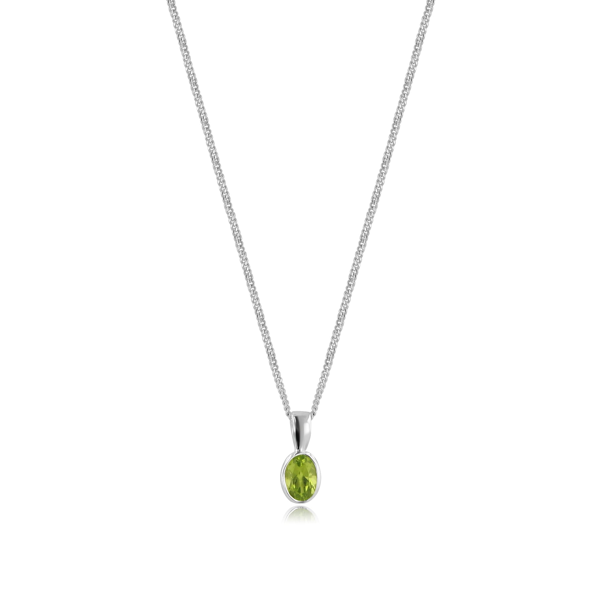 Oval peridot necklace in 9ct white gold oval peridot necklace in 9ct white gold pw3678 cw272 aloadofball Images