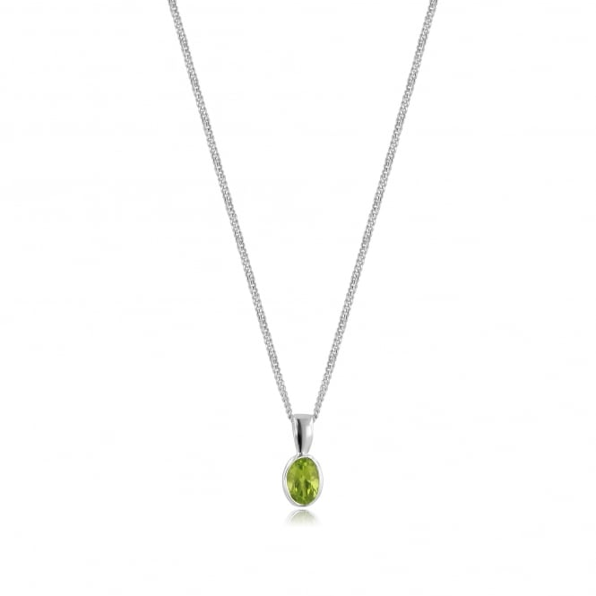 Oval Peridot Necklace in 9ct White Gold PW3678 + CW272