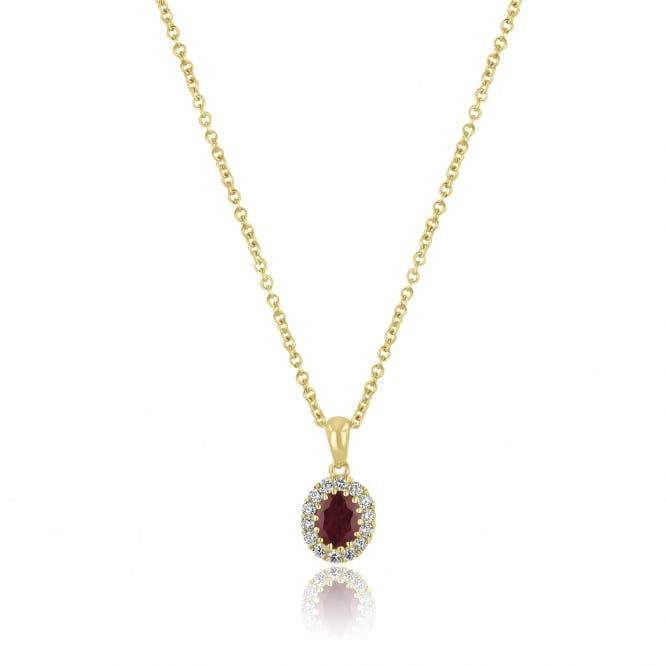 Oval Ruby and Diamond Cluster Necklace