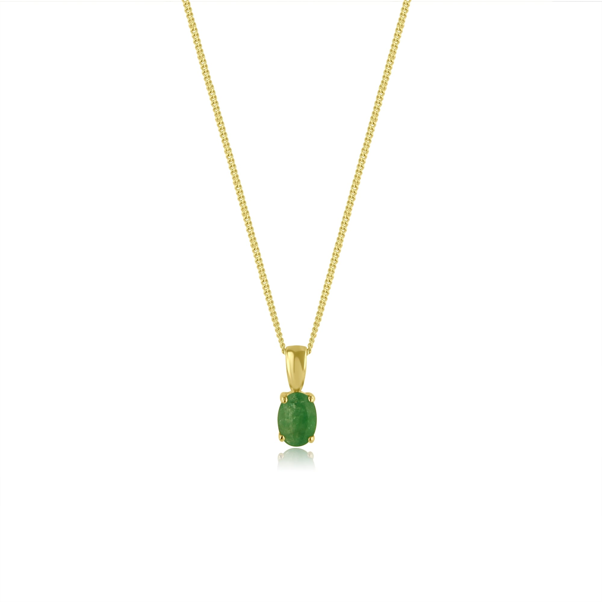 Oval Shape Emerald Necklace In 9ct Yellow Gold