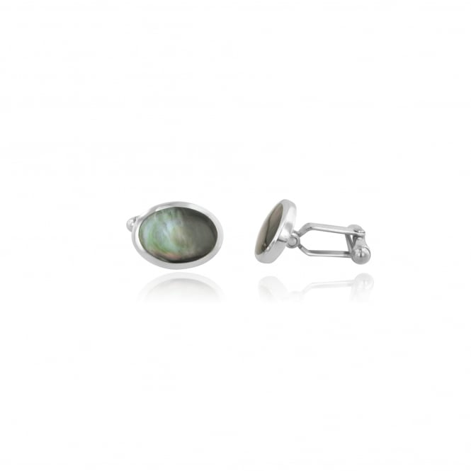 Oval Silver Grey Mother of Pearl Cufflinks AS23118
