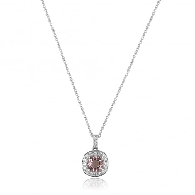 Pale Pink Tourmaline and Diamond Cluster Pendant and Chain