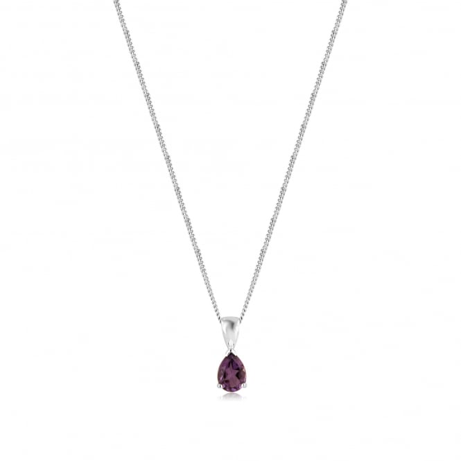 Pear Shape Amethyst Necklace in 9ct White Gold PW3677 + CW272