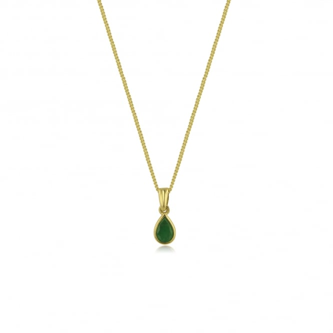 Pear Shape Emerald Necklace in 9ct Yellow Gold PY3674 + CY2241