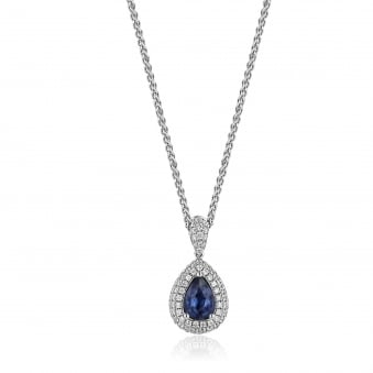 Pear Shape Sapphire and Diamond Necklace