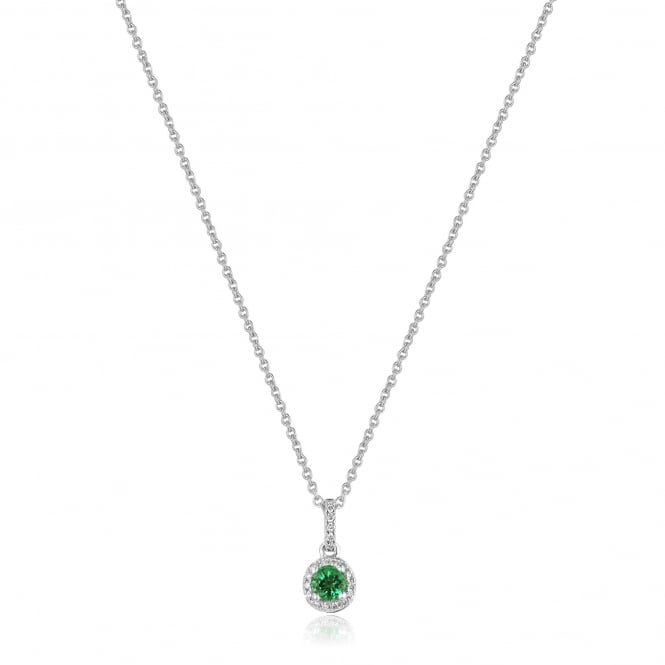 Petite 18ct White Gold Emerald and Diamond Cluster Necklace