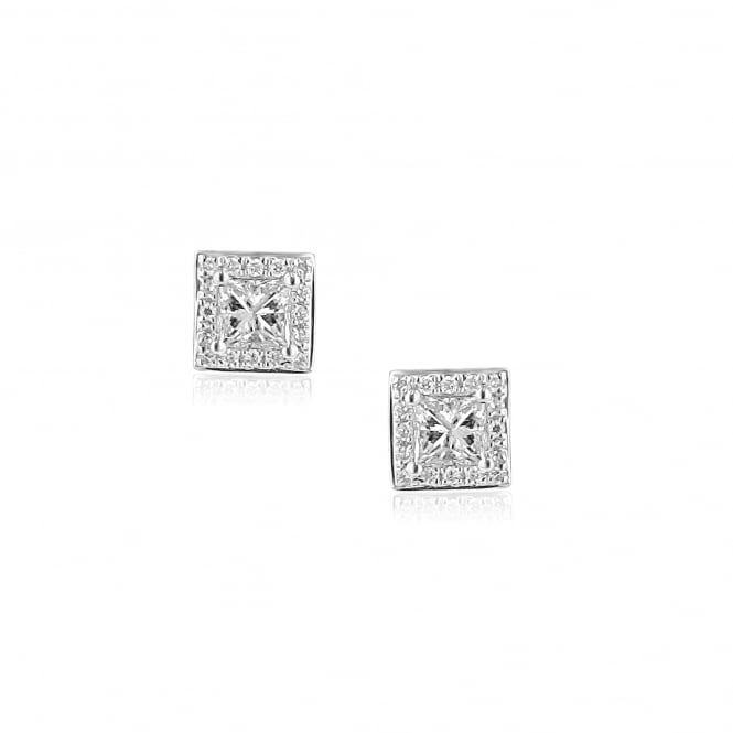 Petite 18ct White Gold Square diamond Stud Earrings EWT36150