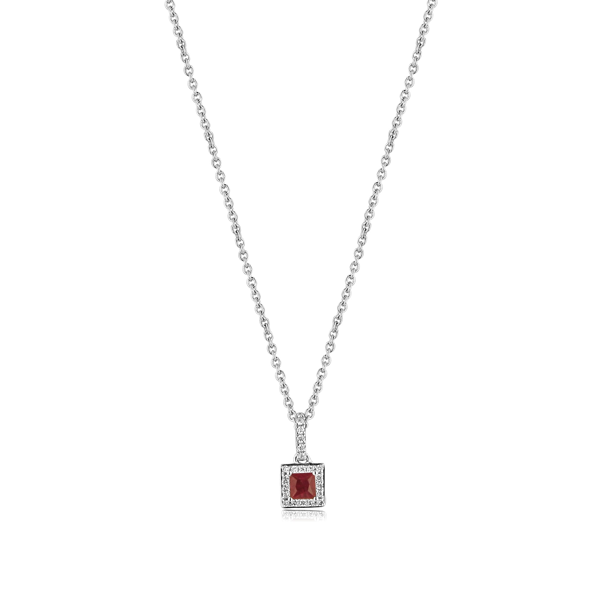 motif stone necklace diamond i princess in four pendant cut gold square white