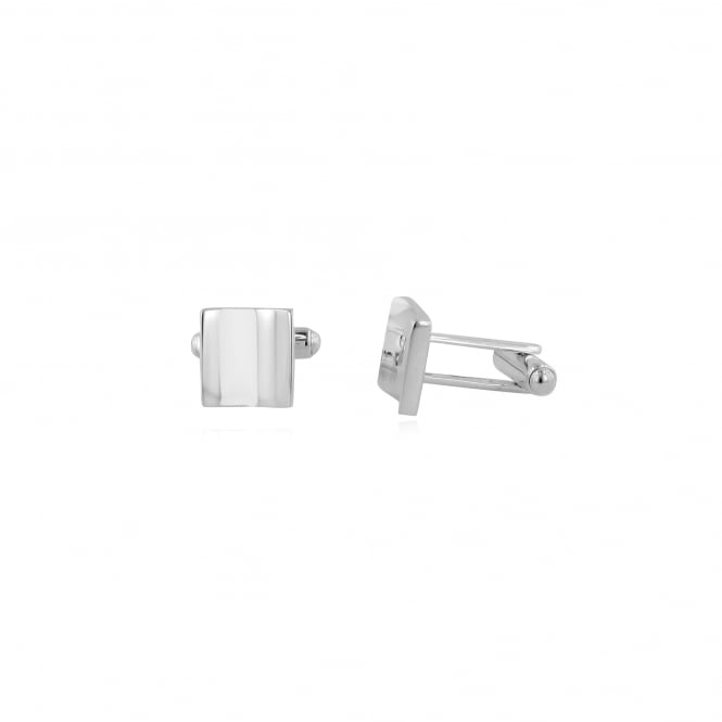 Plain Square Concave Cufflinks in Silver AS3433