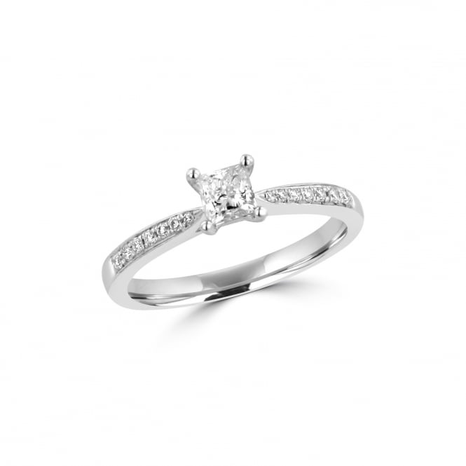 Platinum 0.31ct Princess Diamond Engagement Ring and Diamond Set Band