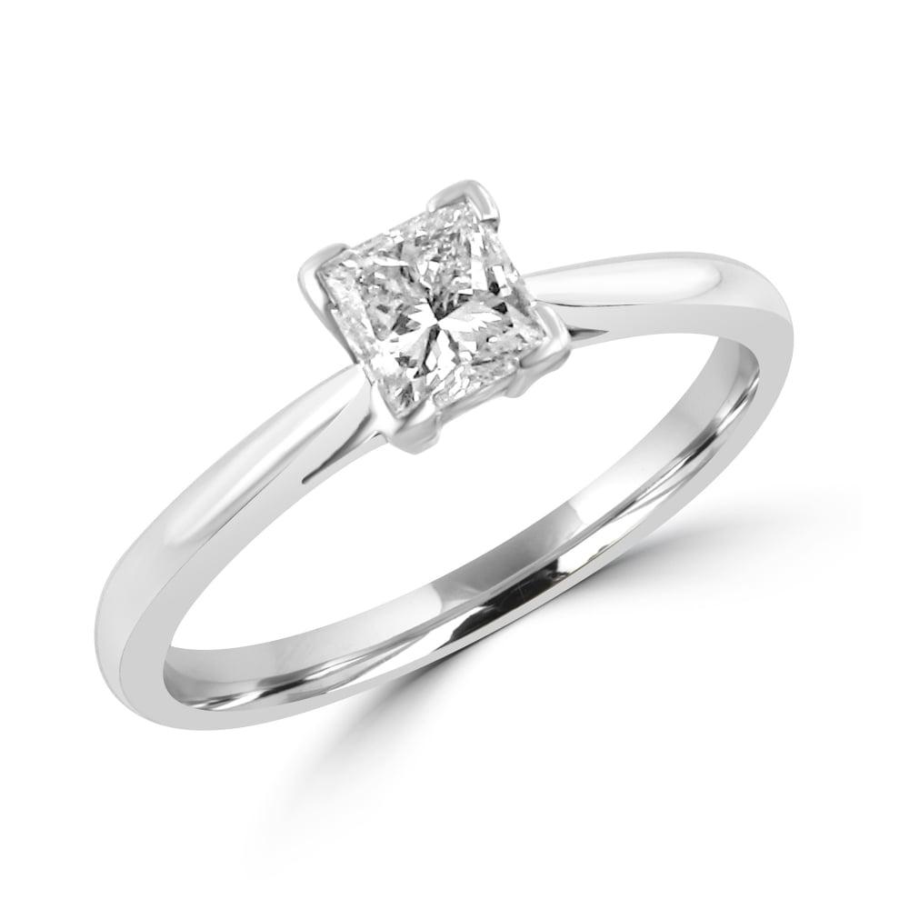 Platinum 0 54ct Princess Cut Diamond Engagement Ring Womens From