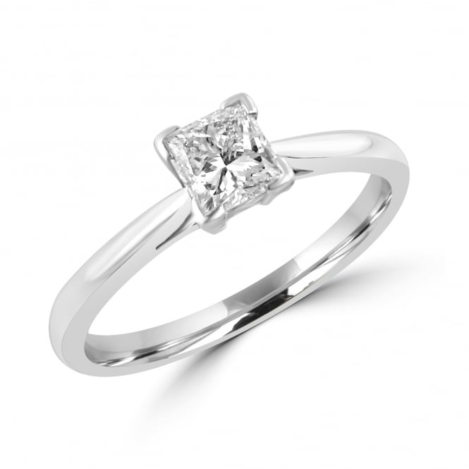 Platinum 0.54ct Princess Cut Diamond Engagement Ring