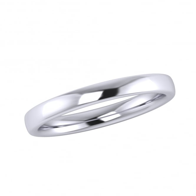 Platinum 2.5mm Slight Court Wedding Ring (Medium Weight)