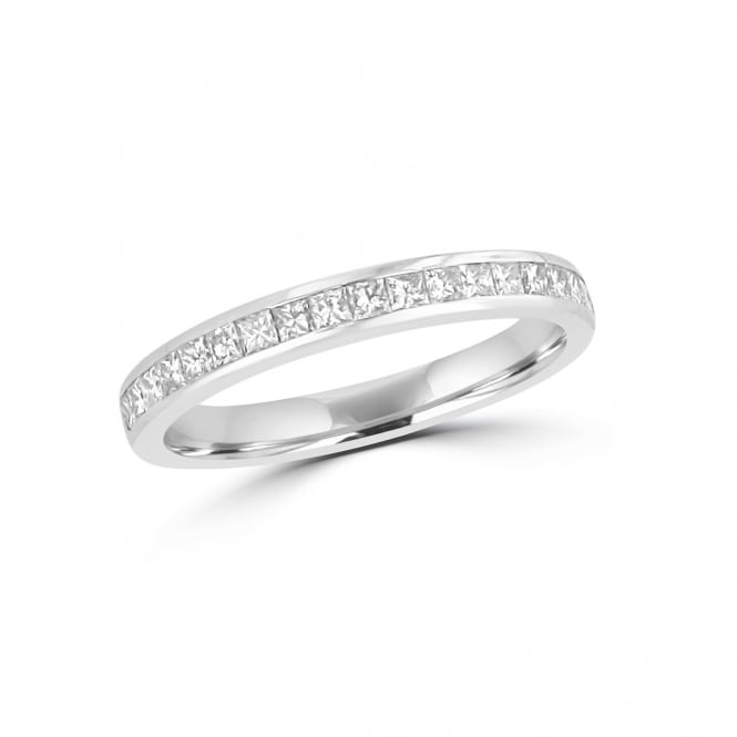 Platinum 2.7mm Wide Princess Cut Diamond Wedding Ring