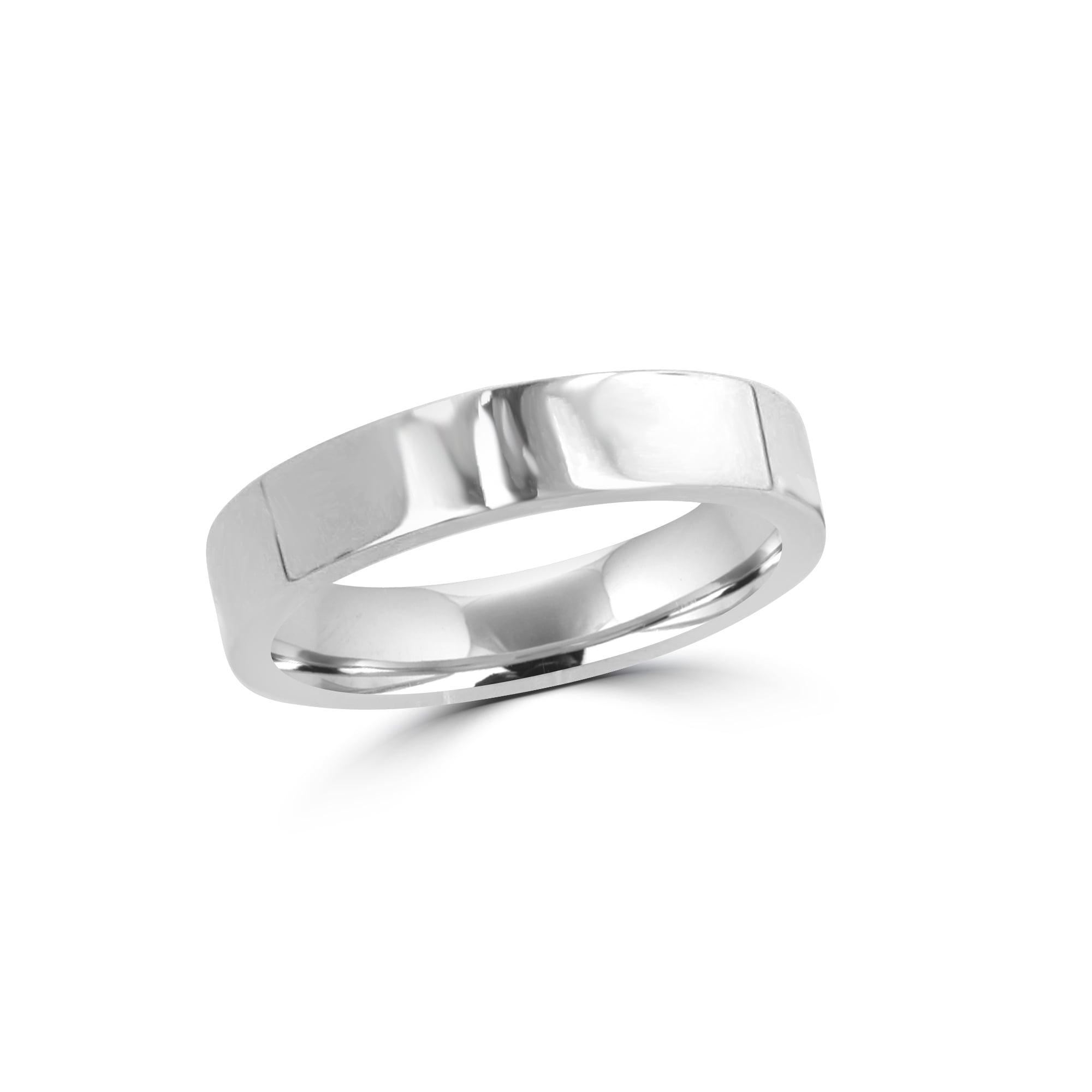 Platinum 4mm Flat Top Inner Court Wedding Ring Womens from