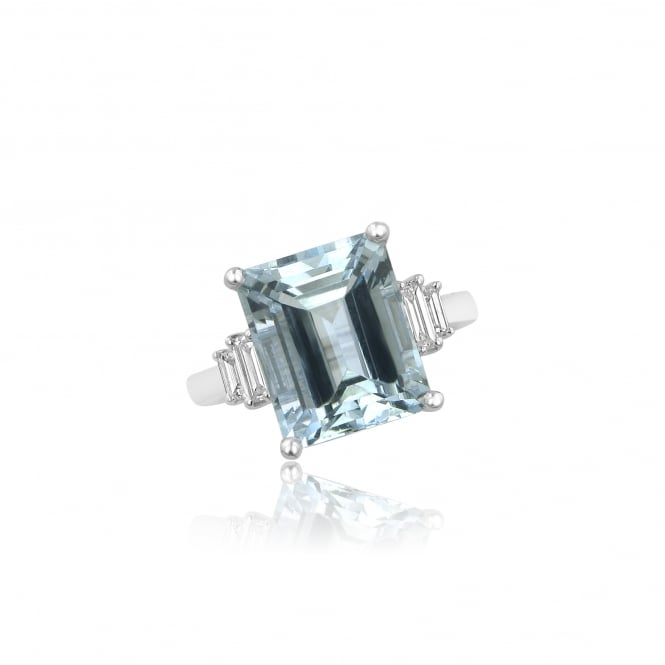 Platinum 6.55ct Aquamarine and Diamond Cocktail Ring RPD36435