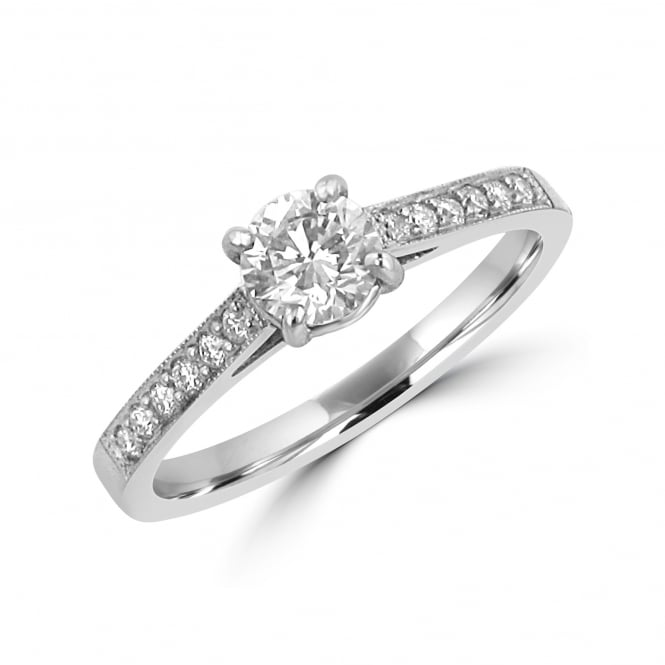 Platinum and Diamond Engagement Ring with Diamond Band RPN34378