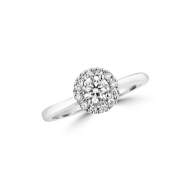 Platinum and Diamond Halo Cluster Ring 0.49ct RPN36382