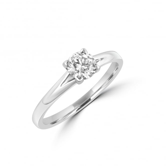 Platinum Heart Claw Round Diamond Engagement Ring RPN2895