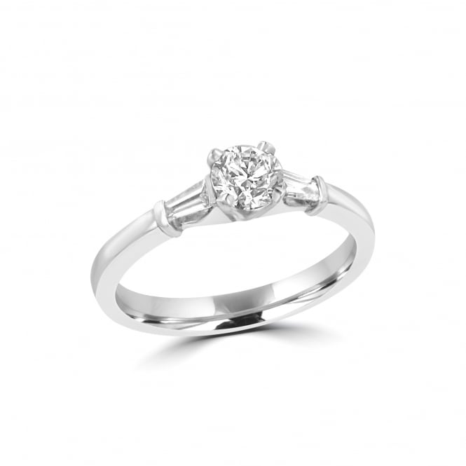 Platinum Round and Baguette Diamond Three Stone Ring