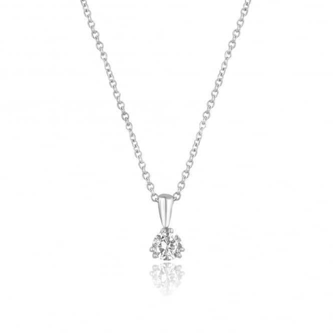 Pre-owned 0.71ct Round Diamond Solitaire Necklace in 18ct White Gold PW3692