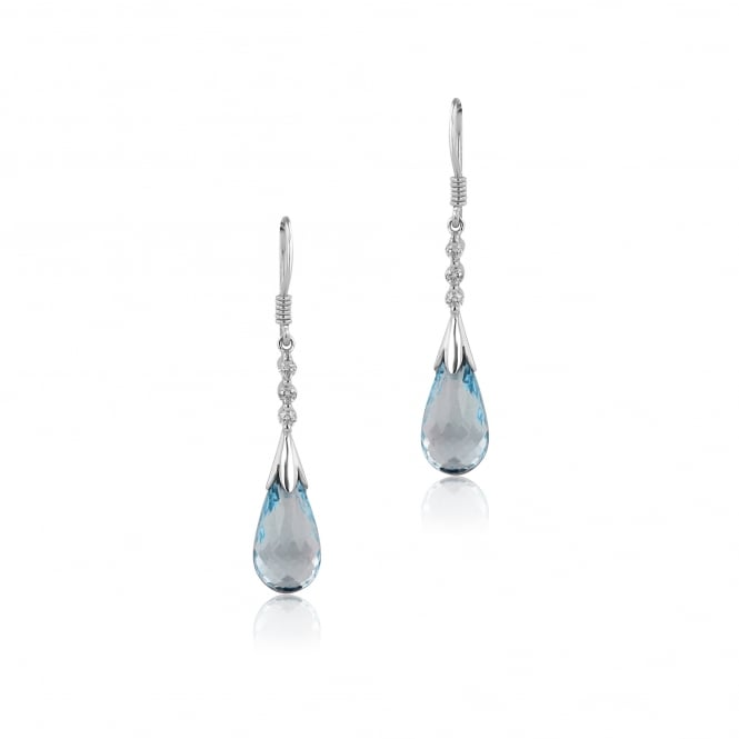 Pre-owned 18ct Blue Topaz and Diamond Drop Earrings