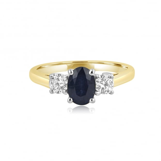 Pre-owned 18ct Gold Oval Sapphire and Diamond Three Stone Ring