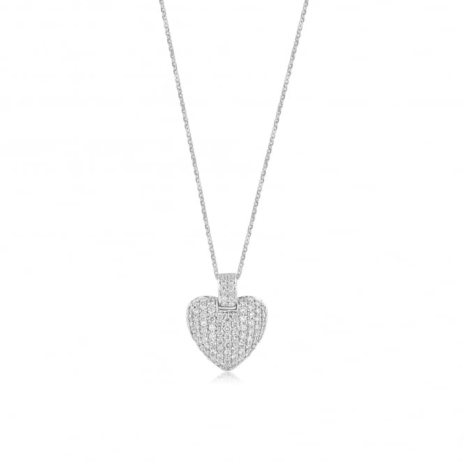 Pre-owned 18ct White Gold Diamond Heart Necklace DW3630