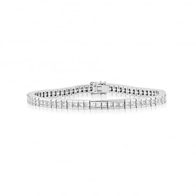 Pre-owned 18ct White Gold Princess Cut Diamond Tennis Bracelet
