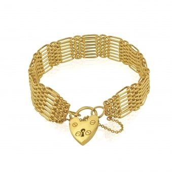 Pre-owned 9ct Gold Charm Bracelet with Padlock
